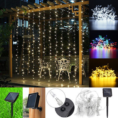 3x3M 300 LED Solar Powered Fairy String Curtain Light Outdoor Garden Xmas Party
