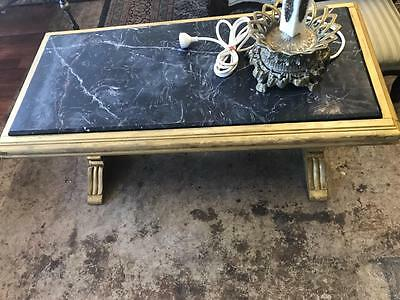 Lovely French Louis Style Black Marble Top Coffee Table On Gold Carved Base
