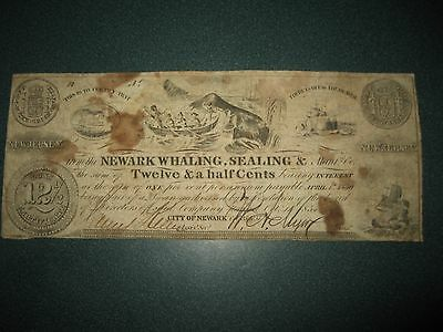 Newark Whaling, Sealing & Manufacturing Script  - 1837 12 1/2 Cent Note