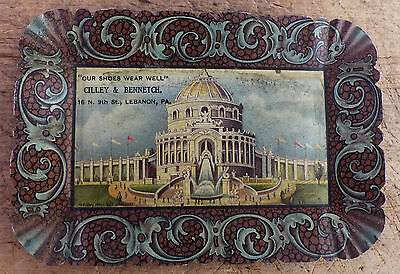 ANTIQUE 1890s Advertising Tin LITHO TIP TRAY Cilley Bennetch SHOES Lebanon PA
