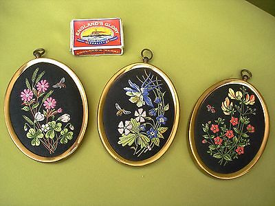 3 Rare Vintage Pure Silk Woven Miniature Flower Pictures J J Cash Ltd Coventry