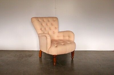 """Sublime Rare George Smith Small """"Bedroom"""" Armchair in Raspberry & Ivory Spot-..."""