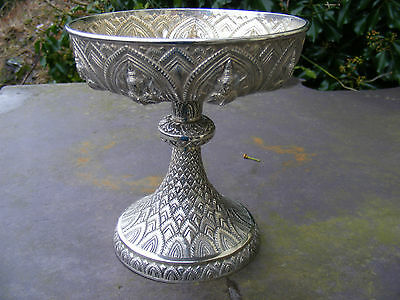 Antique Silver Siamese dish, early 20c.