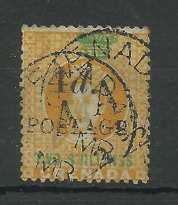 Grenada 1888 Sg 41, Revenue Stamp, 4d on 2/- Orange, (T5 in Green) VFU[1208]