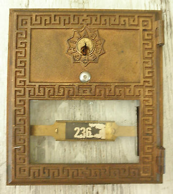 Vintage Postal - Mail Box Plate/Door Brass Post Office w/ Original Glass Cover