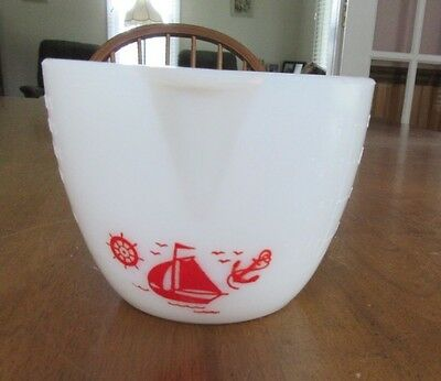 Vtg McKee Milk Glass Red Nautical Sailboat 2 Cup Measuring Pitcher / Cup