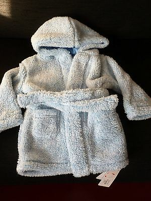 Early days babys  soft fleece blue hooded  dressing gown 6-12 months bnwt