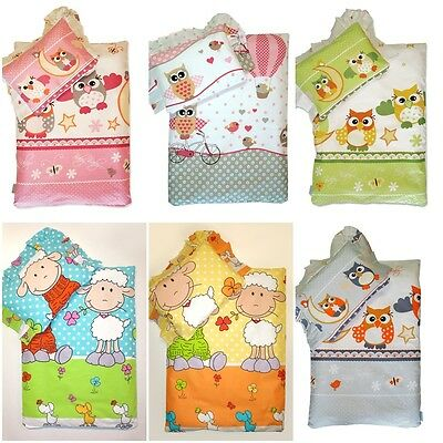 LUX 4 or 2 piece CRIB BABY BEDDING SET for PRAM MOSES BASKET cotton pillow quilt