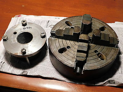 """Skinner 10"""" No 1910 4-jaw chuck w/6"""" back plate adapter 6tpi x ?2-1/4""""?"""
