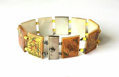 Antique Silver Persian Hand Painted Storybook Panel Bracelet