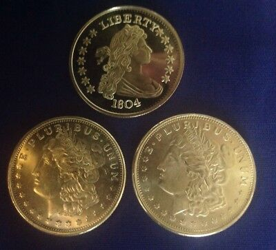 LOOK OLDER SILVER LOT OF 3 - 1 Oz Fine Silver Coins , 3 Total Ounces