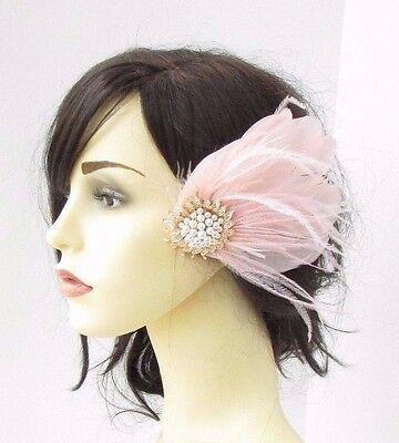 Blush Light Pink Cream Gold Feather Fascinator Hair Clip Headpiece 1920s 3650