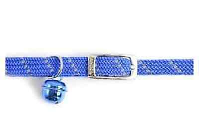 Ancol BLUE Softweave Elasticated Reflective Cat Collar + Bell