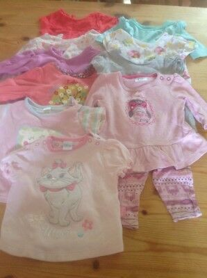 10 Girls Tops 0-3 Months + 1 Pair Leggins