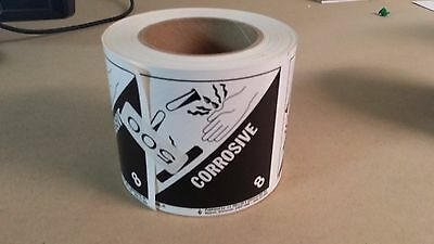 """(450) Corrosive Labels 4"""" x 4"""" 8-HML-R **NEW**"""