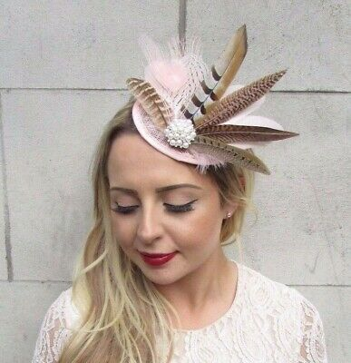 Light Blush Pink Cream Pheasant Feather Fascinator Races Wedding Hat Hair 3656