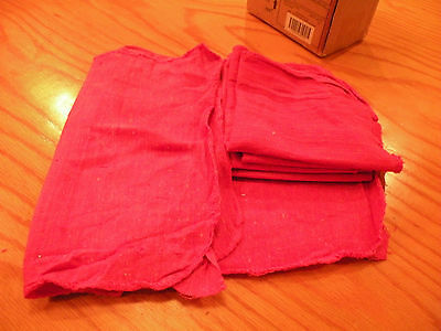 12  ( one dozen ) RED NEW INDUSTRIAL MECHANIC SHOP RAGS TOWELS RED LARGE  12X14