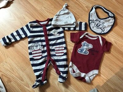 Baby Boy Baby Taz Baby Grow Bib Vest Hat Set Tiny Baby