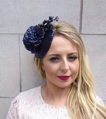 Navy Blue Berry Flower Fascinator Hat Hair Clip Races Sequin Pillbox Vtg 3658
