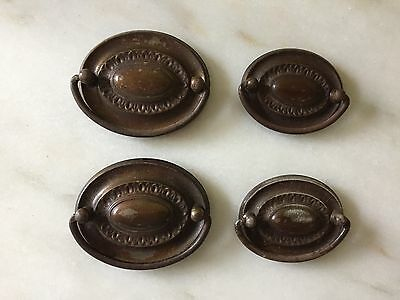 4 - Oval Antique Vintage Brass or Tin Drawer Pulls Hepplewhite Colonial