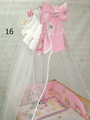 lux COT CANOPY DRAPE for BABY BED chiffon + cotton WITH BOW 320 cm WHITE
