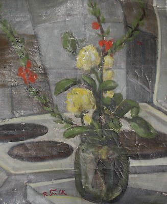 Antique Russian Impressionist Still Life Oil Painting Signed R. Falk