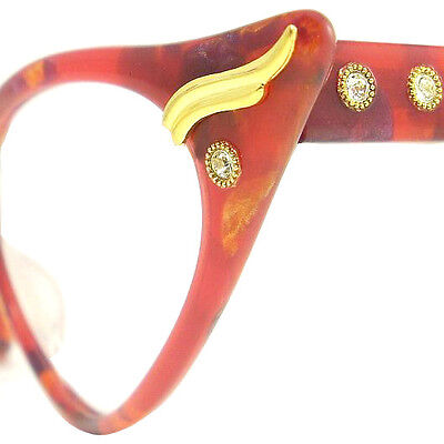 Vintage Cat Eye Glasses Eyeglasses Sunglasses New Frame Eyewear Marbled Orange