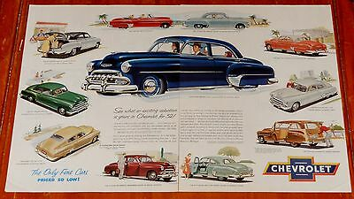 Cool 1952 Chevy Styleline Bel Air All Body Style Big Ad - Vintage American Auto