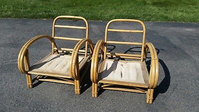 A Pair of Vintage Ficks Reed Rattan Bamboo Lounge Chairs - Local Pick Up Only
