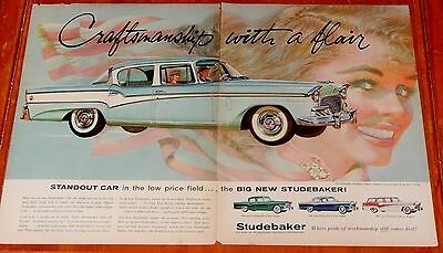 Lovely 1956 Studebaker President Classic & Woman Large Ad - Vintage 50S American
