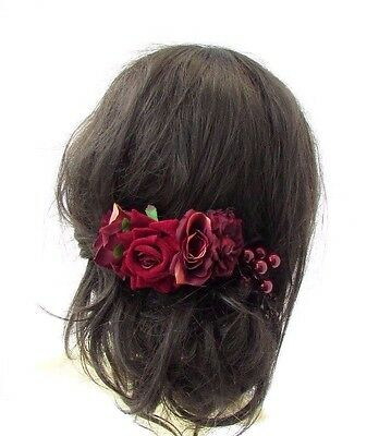 Burgundy Deep Red Rose Berry Flower Hair Comb Bridesmaid Bridal Fascinator 3669