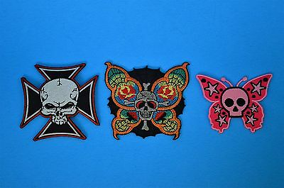 Harley Davidson Motorcycle Patch Badge Lot Of 3 Brand New Skull Butterflies