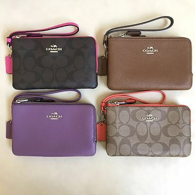 NEW Coach Double Corner Zip Wallet Wristlet Coin Case F87590 F87591 F54813