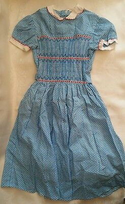 Beautiful real vintage 1950s-1960s Blue & White polka dot smock dress age 8