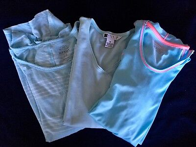 Lot Of Three Womens  Baby Blue Shirts. Long Sleeve. Style Variety 2 Med 1 Sml