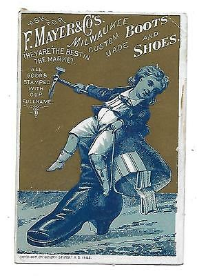 VICTORIAN TRADE CARD F MAYER BOOT SHOE COMPANY MILWAUKEE BOY on RIDING BOOT