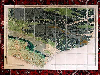 1893 Geological Map East Sussex Ordnance Survey OS Handcoloured Geikie Antique