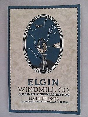 Elgin Windmill CATALOG - circa 1920's ~~ Wonder & Hummer windmills