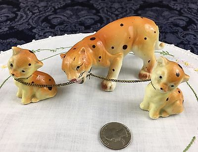 Vintage Chained Porcelain Animal Figurine Cheetah Mom and her 2 Cubs