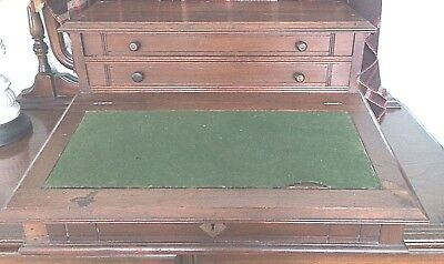 Antique Table Top Desk Wood 2 Drawers Lift Up Felt Top Hinged