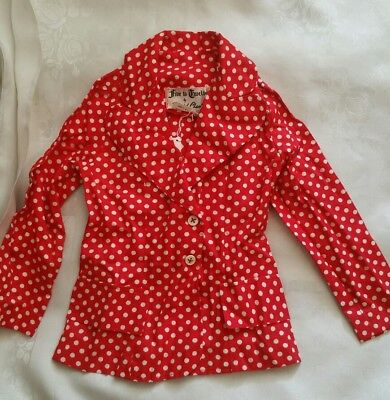 Stunning genuine vintage girls red polka dot light jacket top David Charles age5