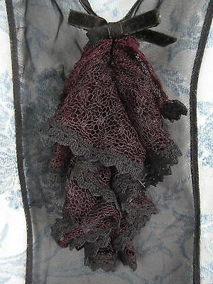Antique Black Ruffled Lace Dress Front Jabot/Collar
