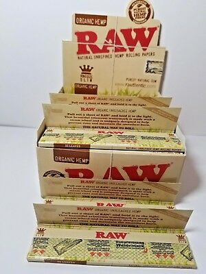 AUTHENTIC Raw King Size Slim Organic Hemp Rolling Papers Full Box Of 50 packs