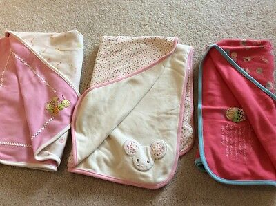 Gymboree girl caterpillar mouse ice cream Cotton Lot  Baby Security Blanket Euc