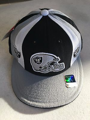 221cd7523cf Retro Reebok Oakland Raiders Gray Black White Pinwheel Flat Brim Fitted Hat