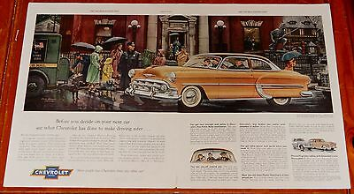 Amazing 1953 Chevy Bel Air 2 Dr Sedan Street Scene Rain Large Ad - Vintage 50S