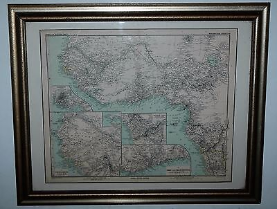 Framed & Matted Antique 1889 Gotha:Justus Perthes  Afrika Map 23 x 18 1/2