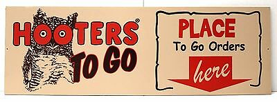 """"""" HOOTERS TO GO PLACE ORDERS HERE """" 24"""" X 8"""" Wood Sign - Bar Restaurant -NEW"""