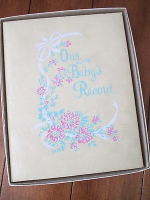 Vintage '70s Era OUR BABY'S RECORD Book Yellow / Mint Green / Pink Birth - 7 yrs