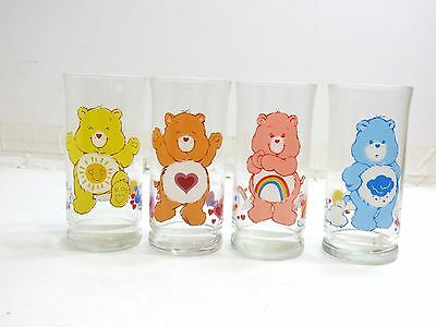 Set Of 4 Vintage 1983 Care Bears Promo Glasses From Pizza Hut